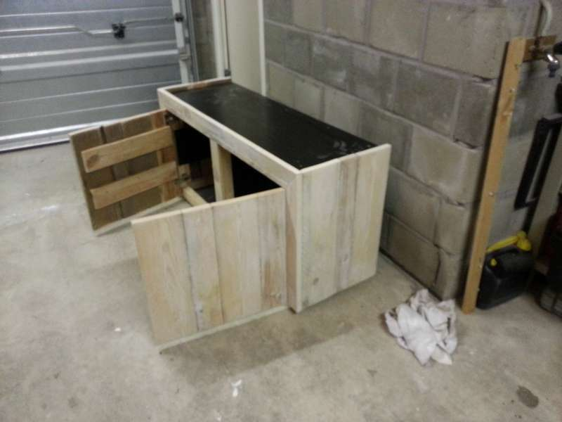 Zeer Steigerhout meubel + nieuwe bak 160x50x60 + Led verlichting | &VU21
